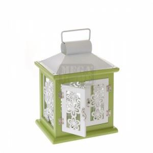 Дървен фенер, бяло и зелено 24 см N-art