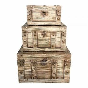 Дървен сандък комплект 3 броя Inart