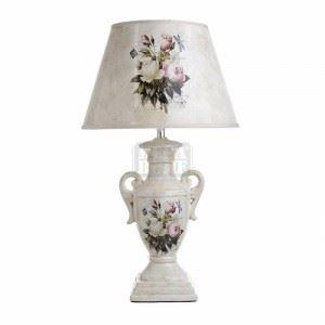 Керамична настолна лампа с основа амфора N-art 30 х 52 см бежова