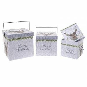 Коледни кутии комплект 3 броя Inart 18 х 18 х 18 см