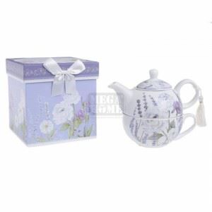 Порцеланов чайник с чаша N-art LAVENDER 16 x 11 x 13 см