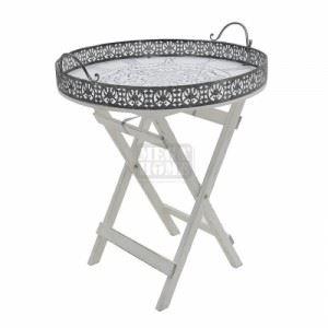 Дървена маса с метални детайли N-art 52 x 52 x 64 см