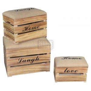 Дървени табуретки комплект 3 броя Inart