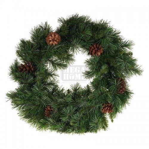 Коледен венец с шишарки Inart PVC D-60