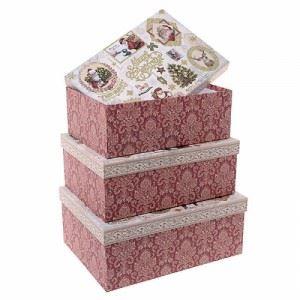 Коледни кутии Дядо Коледа комплект 3 броя Inart 32 х 24 х 13 см