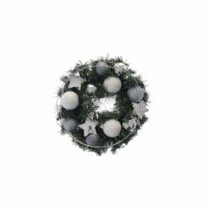 Коледен венец със сребърни топки и звезди Inart 30 см