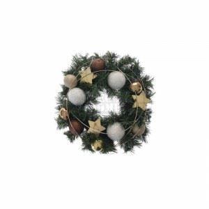 Коледен венец с топки и звезди Inart 30 см