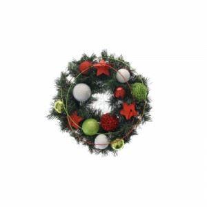 Коледен венец с цветни топки и звезди Inart 30 см