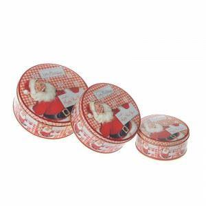 Комплект 3 броя метални коледни кутии Inart червени