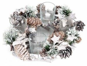 Коледен свещник венец за 4 свещи Inart Н 22 х 7 см