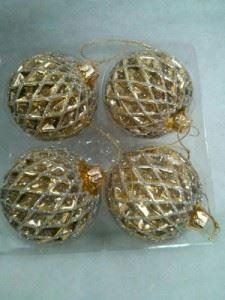 Комплект 4 броя стъклени топки за елха Inart