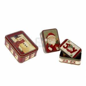 Комплект 3 броя метални коледни кутии Inart