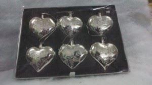 Комплект 6 броя стъклени сърца за елха Inart