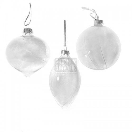 Декорация стъклени топки с пера 3 броя Inart