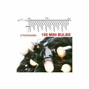 Коледни лампички 60 х 300 см, 8 програми, зелен кабел Inart