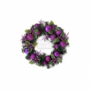 Коледен венец Inart 40 см лилав