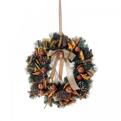Коледен венец с декорация Inart 40 см