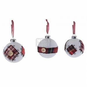 Комплект 12 броя стъклени топки за елха Inart D 7 см