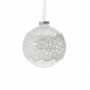 Декорация стъклени топки с дантела 6 броя D 8 см Inart