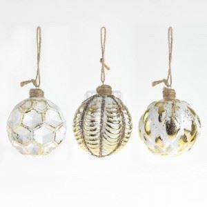 Комплект 12 броя стъклени топки с декорация Inart D 8 см
