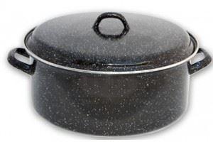 Кръгла тава с кант 32 - 36 см с капак и две дръжки Emailul