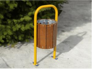 Парков кош за отпадъци на стойка с дървен обков Profis