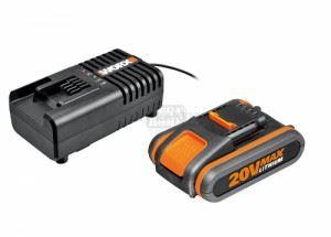 Акумулаторна батерия WORX WA3601 Li-ion 20 V 2.0 Ah + зарядно