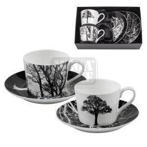 Комплект 2 броя чаши с чинийки Lancaster Дърво