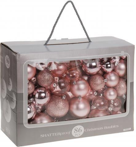 Коледни топки за украса комплект 86 броя