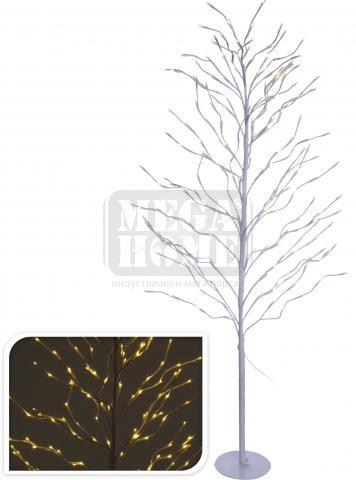 Светещо бяло коледно дърво 155 см