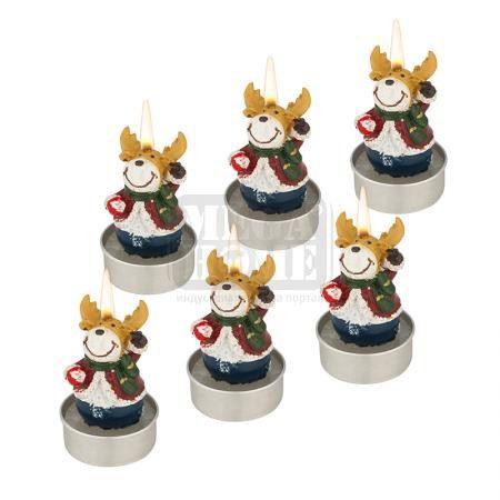 Коледни свещи еленчета 6 броя