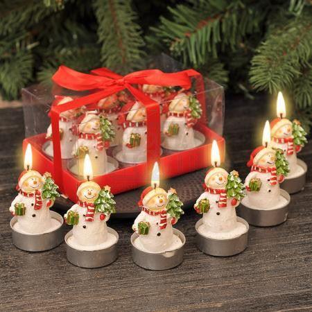 Коледни свещи снежни човеци 6 броя