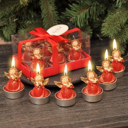Коледни свещи ангелчета червени 6 броя