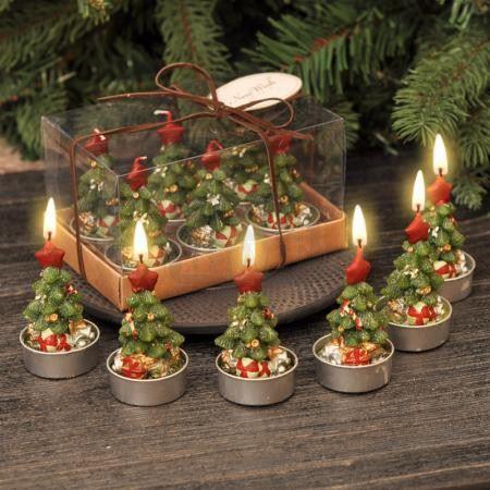 Коледни свещи елхички 6 броя