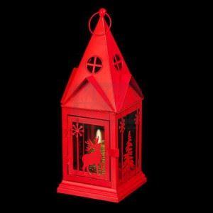 Коледен фенер червен 14 х 14 х 38 см