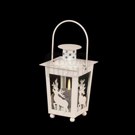 Декоративен фенер бели елени 7.7 х 7.5 х 13 см
