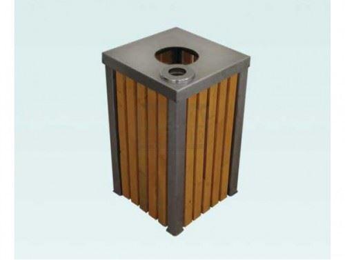 Метален кош с дървен обков и пепелник 50 л