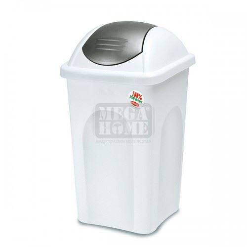 Кош за боклук с люлеещ капак PRIMAVERA 60 л. Бял със сив капак