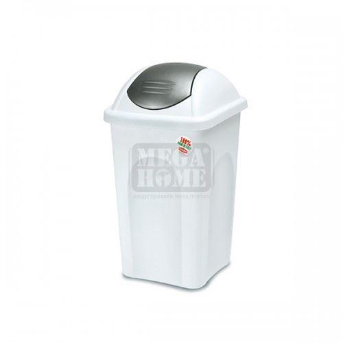 Кош за боклук с люлеещ капак PRIMAVERA 30 л. Бял със сив капак