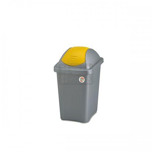 Кош за боклук с люлеещ капак Multipat 30 л. Сив с жълт капак