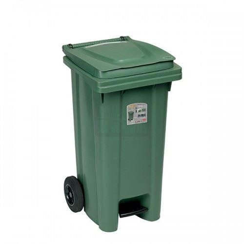 Kош за боклук с педал и колела Зелен 120 L