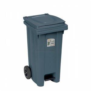 Kош за боклук с педал и колела Сив 120 L