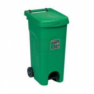Kош за боклук с педал и колела Зелен 80 L