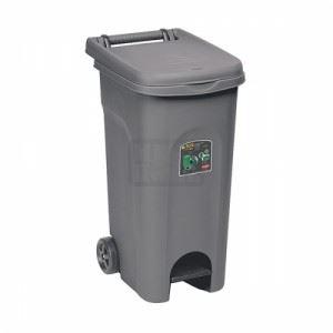 Kош за боклук с педал и колела Сив 80 L
