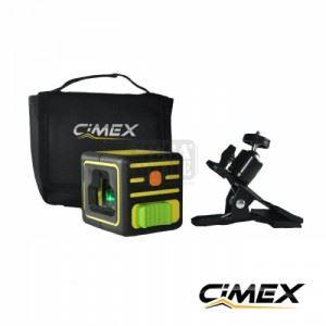 Лазерен нивелир (зелен лъч) и кръстосани линии CIMEX CUBE GREEN