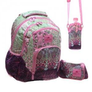 Ученическа раница с несесер и чантa за бутилка Glossy Bird