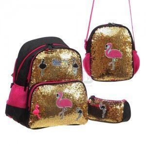 Ученическа раница Glossy Bird с несесер чанта и ключодържател