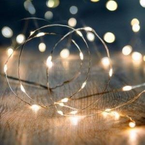 Мини LED Коледни Лампички Топло Бяло 3 м на Батерии