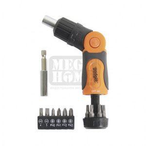 Отвертка -тресчотка чупеща с накрайници к-т 14 части Gadget