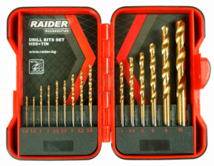 Свредла за метал 15бр. Ø1.5-10mm к-т HSS+TIN Raider
